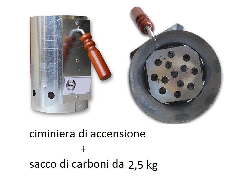 ACCENDIFUOCO CIMINIERA ACCENSIONE barbecue 17x27 cm ACCIAIO INOX barbecue