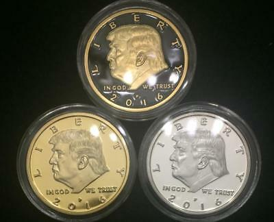 ✯ DONALD TRUMP ✯ US GOLD/SILVER EAGLE ✯ GREAT NOVELTY GIFT ✯ SECURE CAPSULE ✯