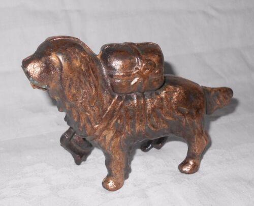 Vintage  Cast Metal  Copper Finish  Dog Bank  St. Bernard with Pack