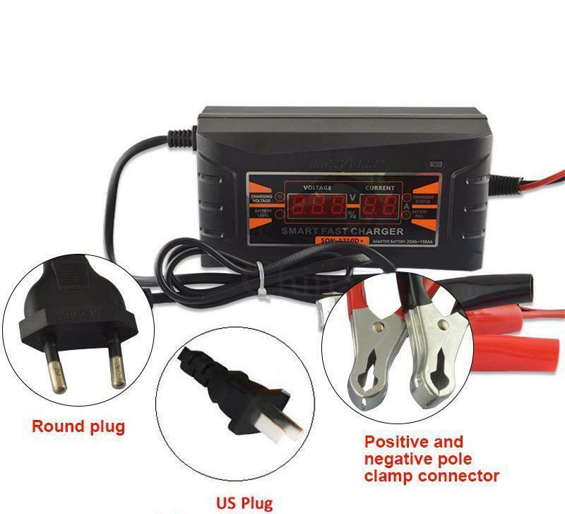 12V10A 6A Smart Car Motorcycle Lead-acid Battery Charger LCD Display EU/US Plug