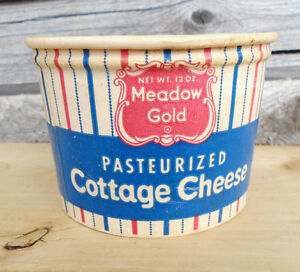 Vintage 1950's Meadow Gold Cottage Cheese Waxed Paper Carton