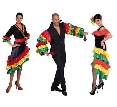 Flamenco Kostüm Kleid Spanierin Tanz Samba Brasilien Herren Salsa Damen Rio Hemd