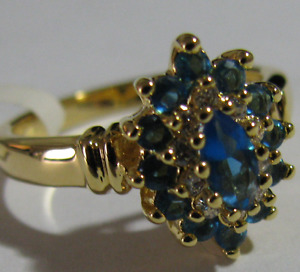 High-End 14K Gold Pl, Sz. 7 Sim. Light Blue & White Topaz
