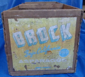 RP1514 Vtg Brock Asparagus Baja CA Wood Wooden Box Crate