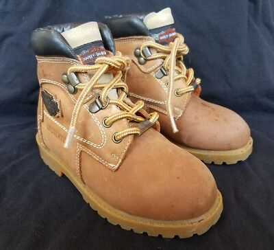 Kids HARLEY DAVIDSON Work Boots Tan Hiking Hard Toe Insulated Childrens Size 12 - Kids Harley Boots