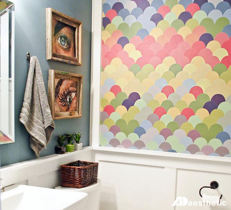 Dramatic wallpaper takes this tiny bathroom from boring to bold. (Image: AD Aesthetic)