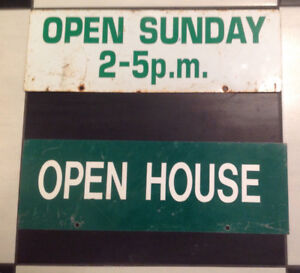 "AUTHENTIC "" OPEN HOUSE"" AND ""OPEN SUNDAY"" SIGN MAN CAVE, GARAGE"