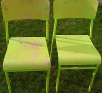 2 chairs, stacking, green, wood & steel, sturdy, both $5