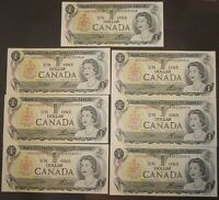 7 Consecutive 1973 one dollar bank notes Paper Money