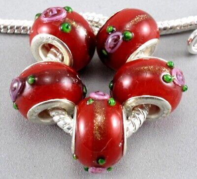 5 abalorios cristal cristal murano rojos con flores en relieve