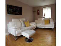DFS White GENUINE LEATHER SOFA STOOL Suits / 3 - 2 - 1 Seater/ (FREE DELIVERY)
