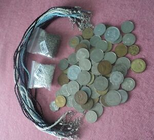 World Coins with split rings and leather necklaces