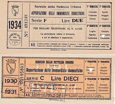 § 2 BOLLETTE SERVIZIO NETTEZZA URBANA - ROMA 1931-34 - ASPORTAZIONE IMMONDIZIE