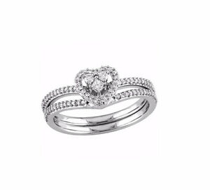 Amour JCK Bridal Heart Ring in White Gold with 0.33ctw Clear Rou