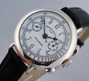 RARE EBERHARD CHRONOGRAPH STERLING SILVER LTD EDITION 14 CALIBER