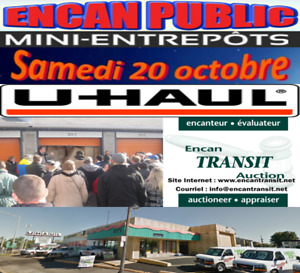 ENCAN DE MINI ENTREPÔT SAMEDI 20 OCTOBRE 2018 10H30, ST-HUBERT