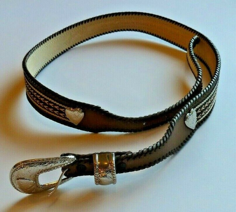 Wrangler Women's Brown Leather Belt with Stitchwork Hearts Silver Buckle Belts