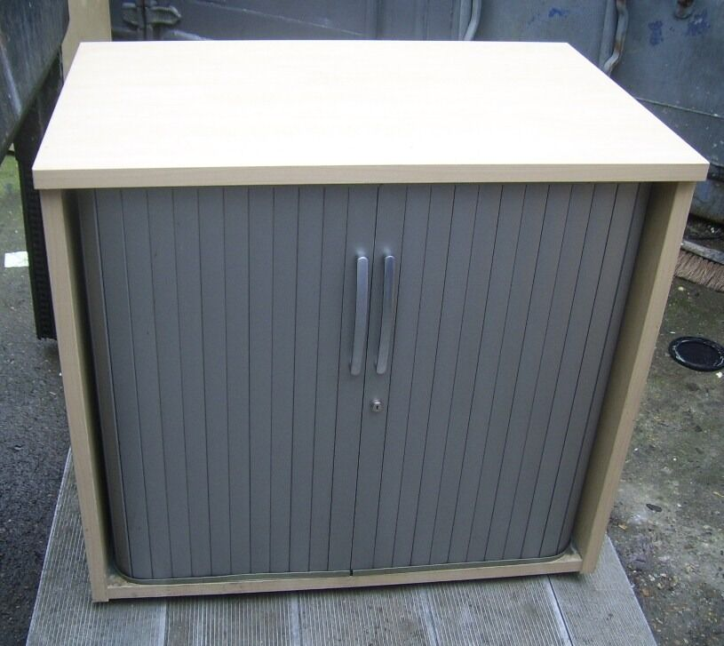 WOODEN ROLLER SHUTTER CABINET FILING CABINET 12 AVAILABLE LARGER CABINETS ALVAILABLE