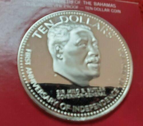 1974 BAHAMAS - 10 DOLLARS - BUTLER - 1.5 Oz PROOF SILVER CROWN w/ COA ~