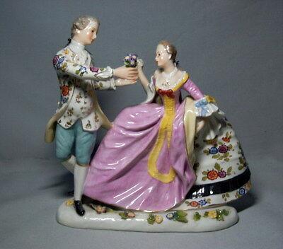AELTESTE VOLKSTEDT Porzellan Figurengruppe elegantes Paar Skulptur