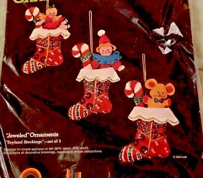 3 Mini Jeweled Felt Christmas Stockings Fill w Dolls & Candy Cane Embroidery Kit