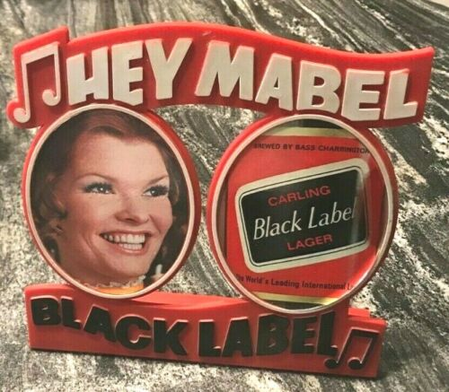(RARE) HEY MABEL CARLING BLACK LABEL BEER BACK BAR STATUE SIGN CLEVELAND OH