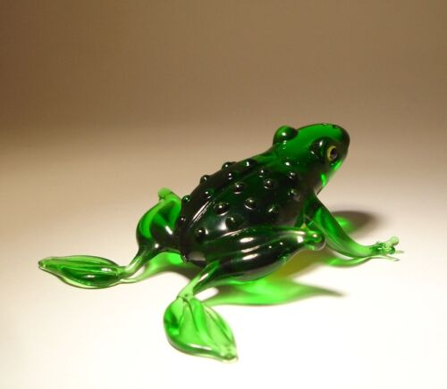 "Blown Glass Figurine ""Murano"" Art Animal Green FROG with Yellow Belly"