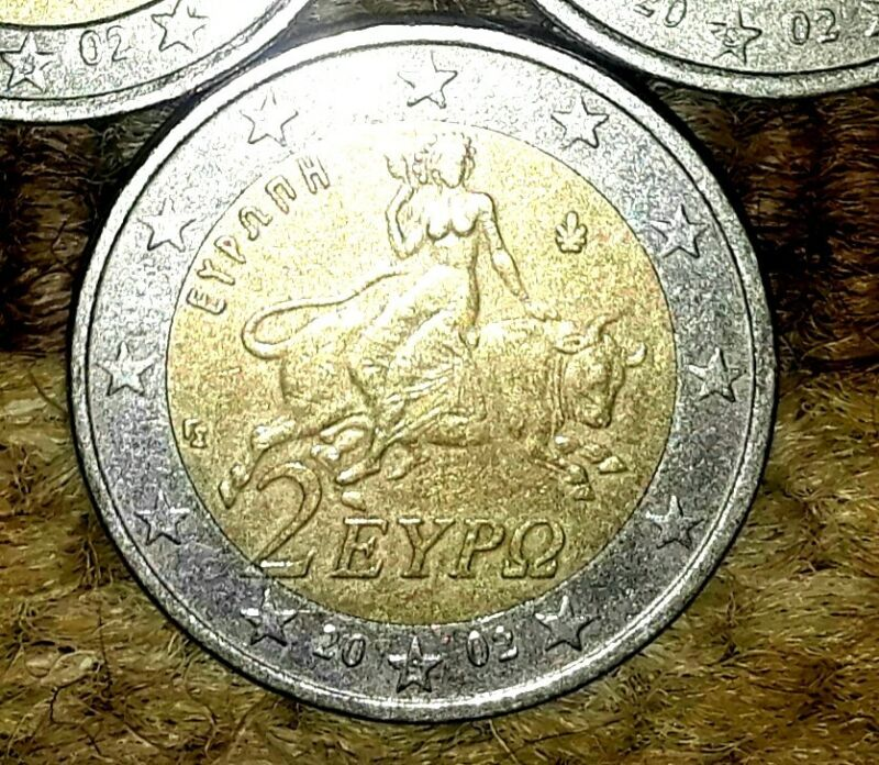 """2 Euro RARE Coin 2002 / """"S"""" on the star /  """"2"""" is outside center ring"""