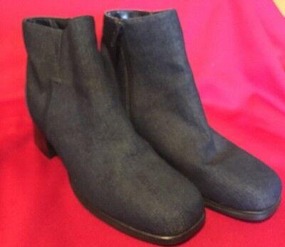 AJ Valenci Built For Comfort Dark DENIM  8M Side Zip Ankle Boot Shoe Never Worn