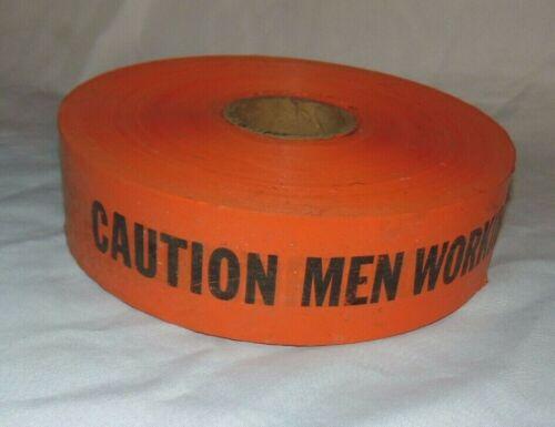 "LARGE Roll of ORANGE Barricade 3"" Warning Tape ""CAUTION MEN WORKING"""