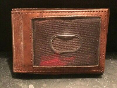 Slim Leather Card Case Wallet-Mens-Brown-4 Card Slots-Clear ID Window Slot-USED