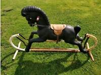 Vintage plastic rocking horse + saddle. Metal lower frame. Needs a little love