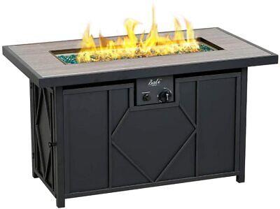 "BALI OUTDOORS propane fire pit 42"" Rectangular Gas Fire Pit Table 60000BTU Glass"