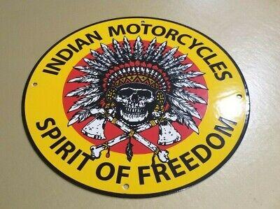 VINTAGE INDIAN MOTORCYCLE PORCELAIN SERVICE STATION GAS OIL AMERICAN BIKE SIGN