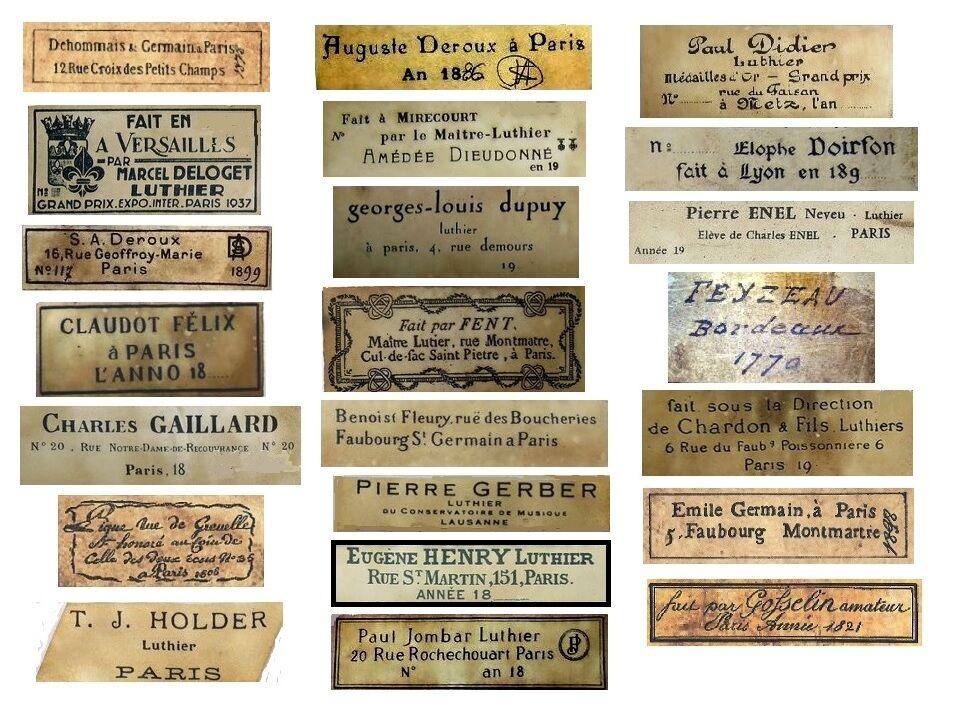 V123 Old Vintage Antique Violin Fiddle Maker Set of 22 Labels NICE!