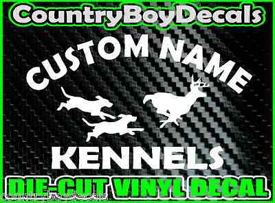 CUSTOM Dog KENNELS Vinyl DECAL Sticker Hunt Hunting Coon Deer Diesel Truck Car B