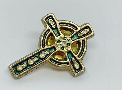 Celtic Cross Green And Gold Tone Vintage Pin -