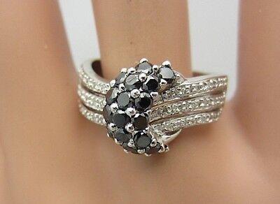 New 14K White Gold Black and White Diamond Ring 1 (1 Carat Black And White Diamond Ring)