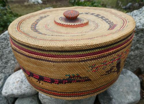 Early 20th C. LARGE Native Grass Basket Makah Nuu-chah-nulth NICE!