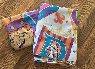 ~Vintage Disney Hunchback of Notre Dame TWIN Flat + Pillowcase Sheet Bedding Notre Dame Bedding