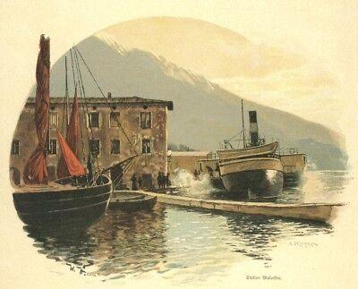 Malcesine Garda-See, Lago di Garda, am Hafen, Original-Farbholzstich ca.1890