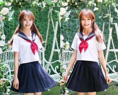 Japanese School Girl JK Uniform Summer Sailor Dress Outfit Suit Cosplay Costume