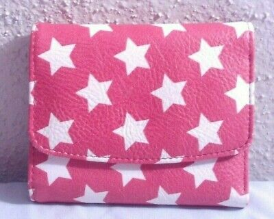 Ladies Small Wallet, Buxton Brand, Red w/ White Stars Trifold Snap ID Billfold Red Ladies Small Wallets