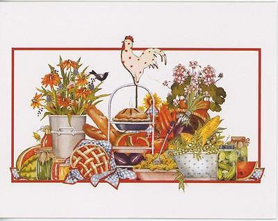 PICNIC WATERMELON CHERRY PIE CORN PICKLES CARROTS 1 SHRIMP COCONUT RECIPE CARD ()