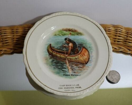 ANTIQUE VINTAGE INDIAN MAIDEN IN A CANOE GARY ILL ADVERTISING PLATE HARKER CO