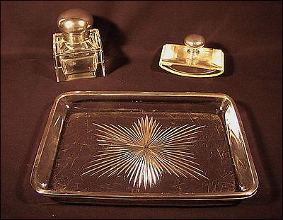 Grosse alte Schreibgarnitur massiv Silber und Glas