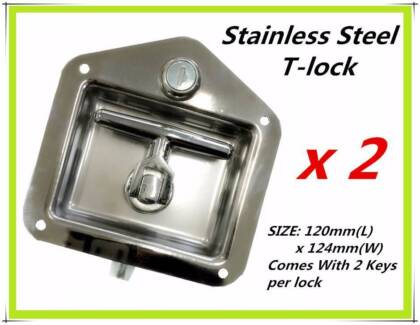 2 x Stainless Steel Folding T-lock for TRAILER TOOLBOX CARAVAN Clayton Monash Area Preview