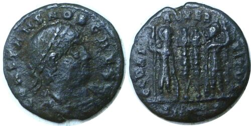 337-350 AD Roman Constans Two Soldiers AE3 Bronze