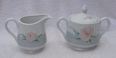 Victorian Rose Saltera Sugar Bowl and Creamer Vintage Porcelain Himark Japan 85 - Victorian Rose Sugar