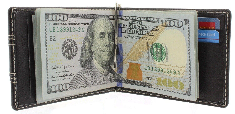 Money Clip Wallet Bifold Slim Minimalist RFID Blocking Front
